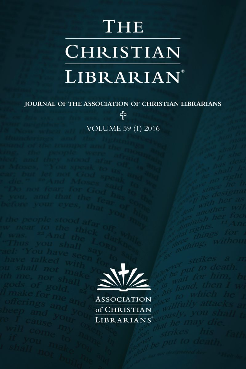 TCL Volume 59 Issue 1 - Association of Christian Librarians